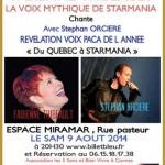 Affiche  du 9 aout miramar cannes avec Fabienne Thibeault et Stephan Orcière